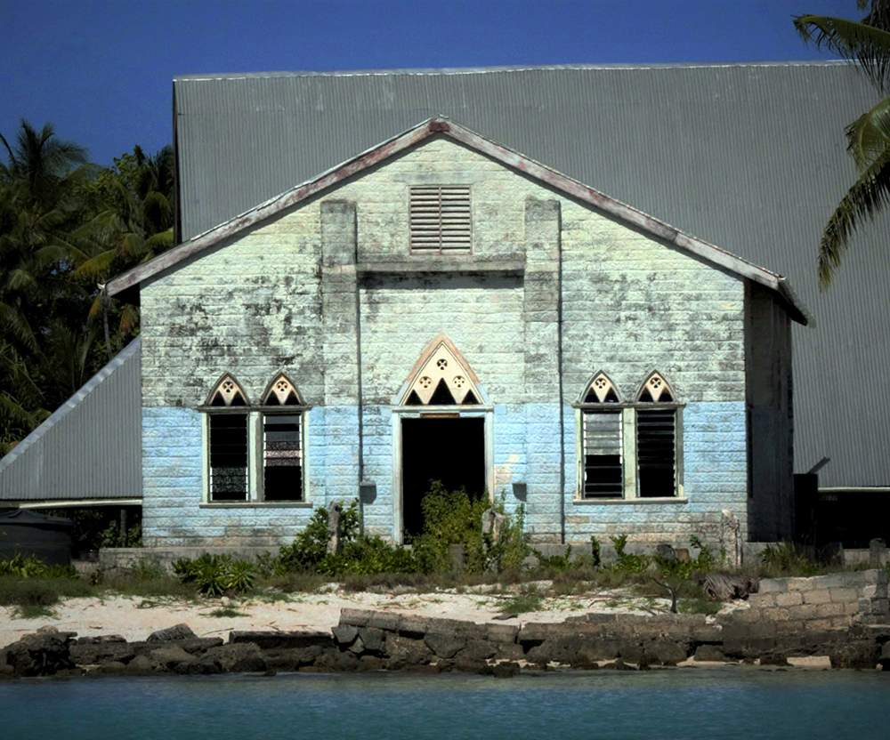 The weathered church in the flooded village.PHOTO: CHARLIE MITCHELL\/STUFF