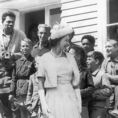Queen Elizabeth II and the Duke of Edinburgh greeted by crowds