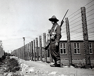 A guard at the Japanese prisoner of war camp in Featherston during World War II